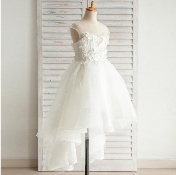Fashion Hi-low Lovely Appliques Cap Sleeve  Open Back See-through Tulle Flower Girl Dresses, FGY0118