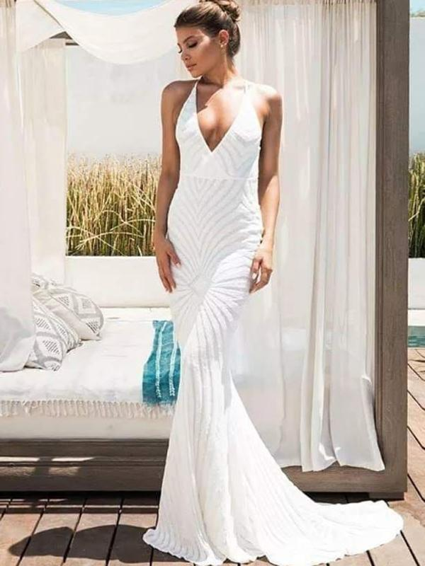 Mermaid Spaghetti Straps V-neck White Sequin Prom Dresses,Cheap Prom Dresses,PDY0466