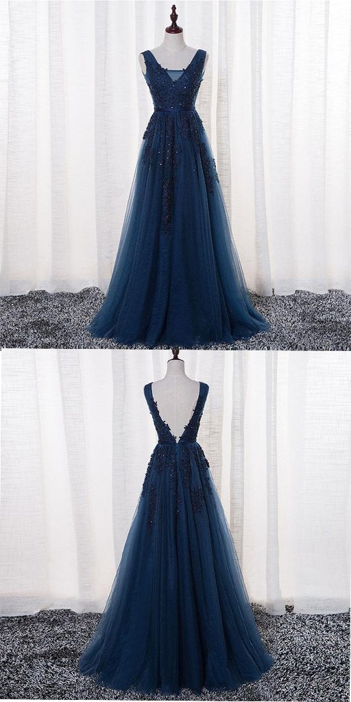 A-line V-neck Beaded Navy Blue Lace Prom Dress ,Cheap Prom Dresses,PDY0411