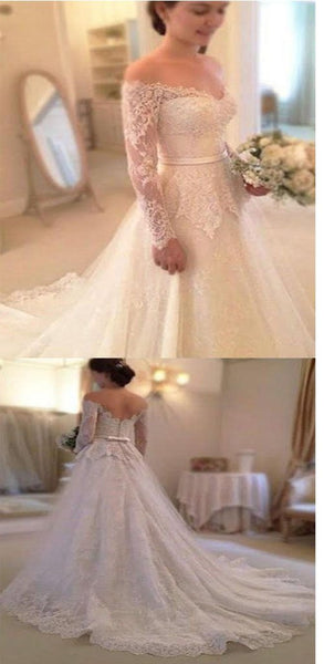 2019 Simple Long Sleeve Off The Shoulder Lace Elegant Vintage Wedding Party Dresses,WDY0151