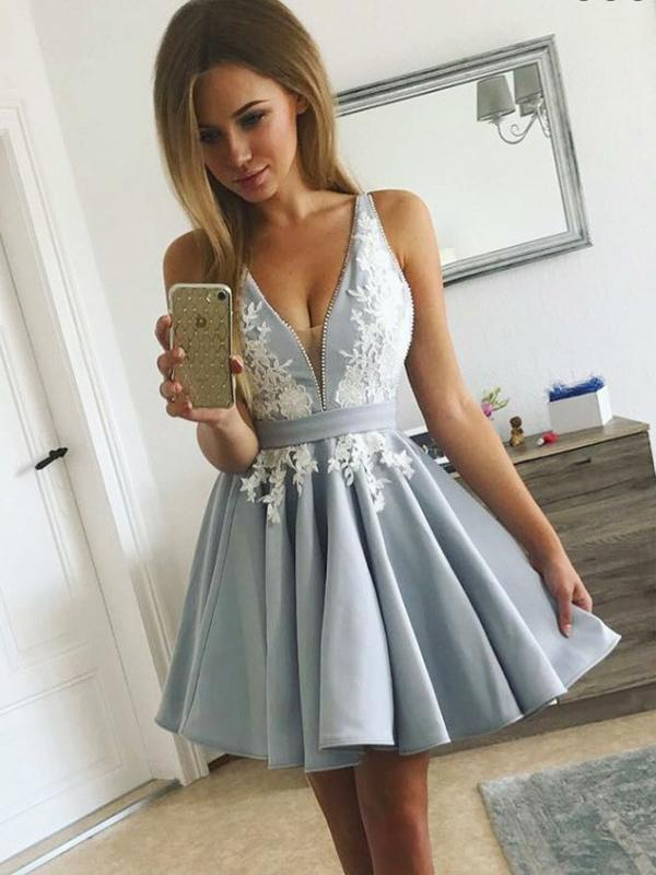 A-Line V-Neck Light Blue Satin Homecoming Dress With Appliques,Short Prom Dresses,BDY0328