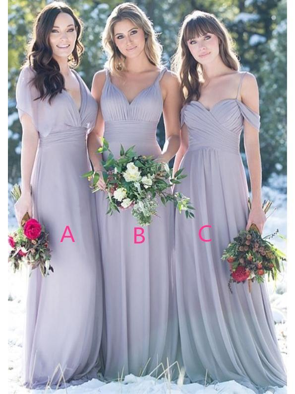 Grey Mismatched Long Chiffon Cheap Bridesmaid Dresses Online, WGY0229
