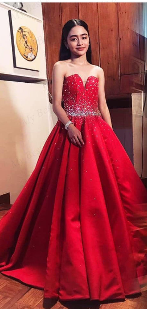 A-line Beaded Red Stain Evening Dresses ,Cheap Prom Dresses,PDY0600
