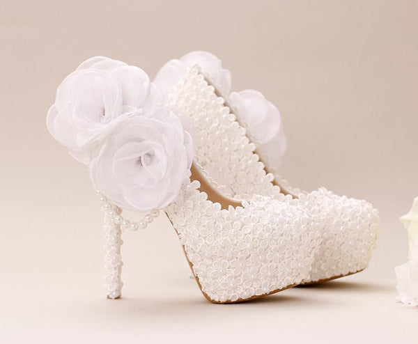 Pointed Toe Lace Pearls Wedding Shoes With Handmade Flowers, SY0127