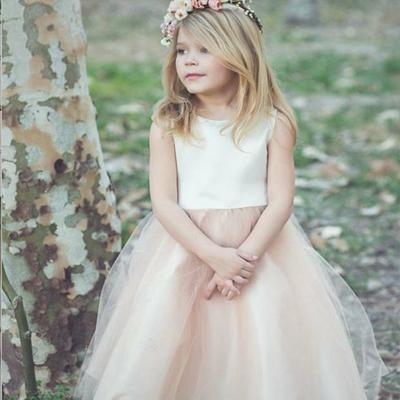 A-Line Bateau Tea-Length Blush Tulle Flower Girl Dress,Cheap Flower Girl Dresses ,FGY0224