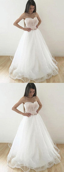 Simple A_Line Strapless White Tulle  Lace Wedding Party Dresses With Belt, WDY0152