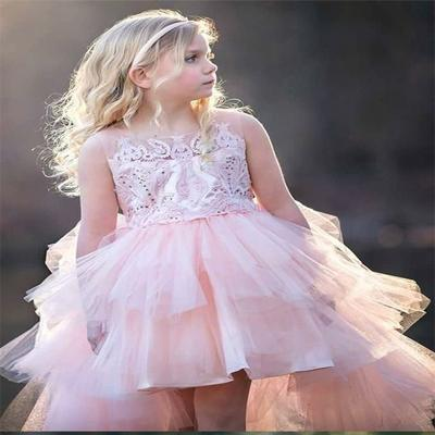 A-Line Round Neck Hi-lo Pink Tulle Flower Girl Dress With Appliques,Cheap Flower Girl Dresses,FGY0191