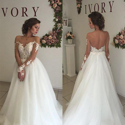 b35765813 Sweetheart Open Back Sexy A-line White Tulle Lace Long Wedding Party Dresses,  WDY0139