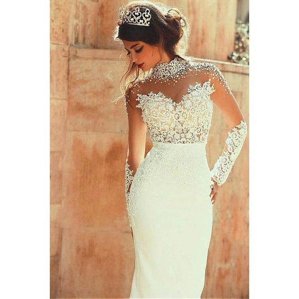 High Neckline Sheath Wedding Dresses With Beaded Lace Appliques, Dresses For Wedding Party ,WDY0162