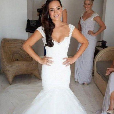 Gorgeous Sweetheart Mermaid White lace High Quality Custom Make Wedding Dresses, WDY0150