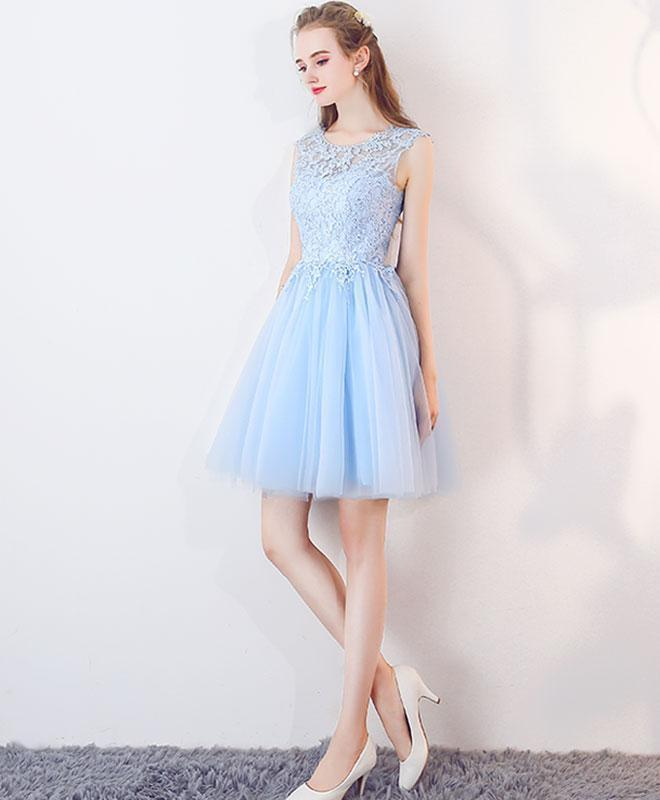 Cute Blue Illusion Lace Cheap Short Homecoming Dresses Online, BDY0297