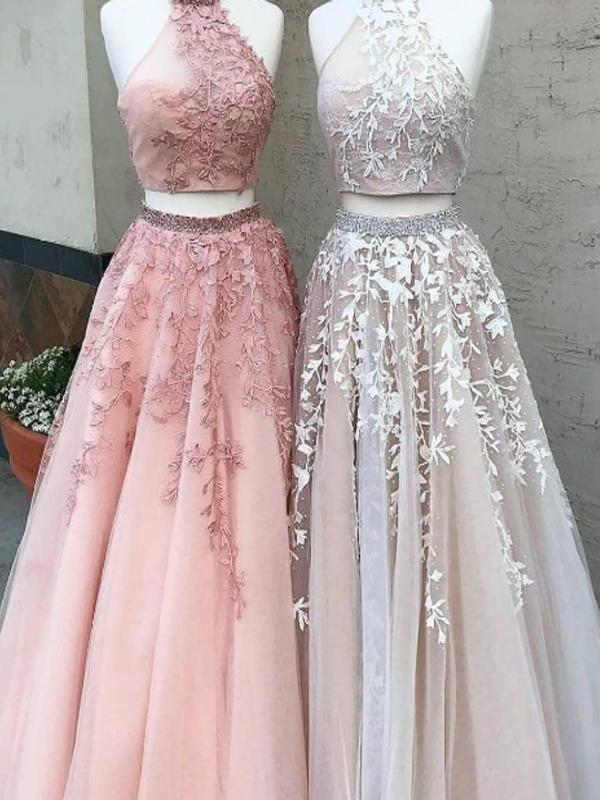 Two Piece High Neck Pink Lace Long Prom Dresses,Cheap Prom Dresses,PDY0469