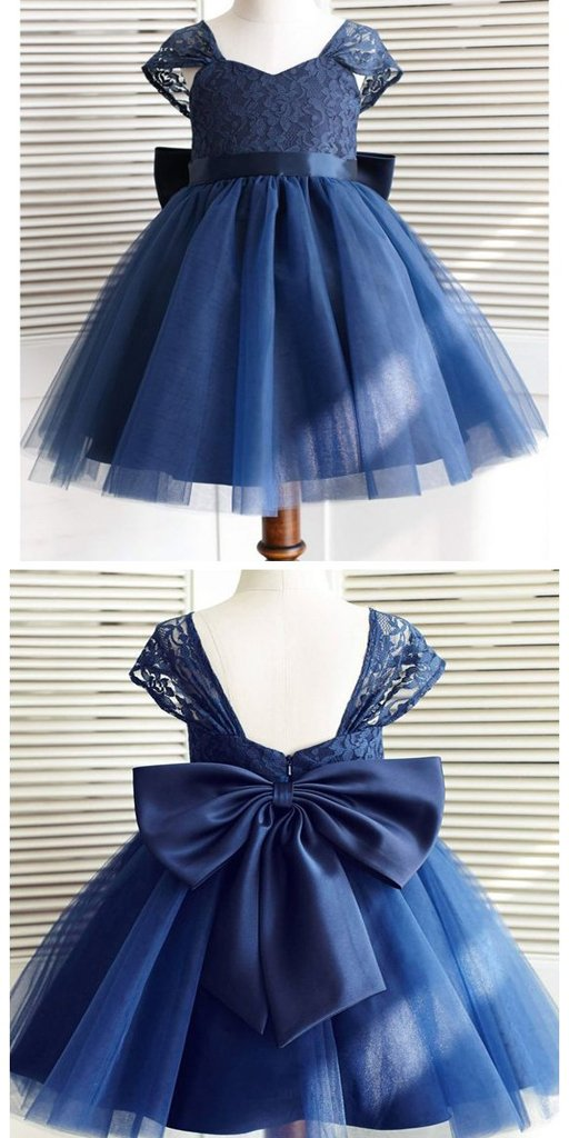Navy Blue Cap Sleeves Lace Flower Girl Dresses,Cheap Toddler Flower Girl Dresses,FGY0193