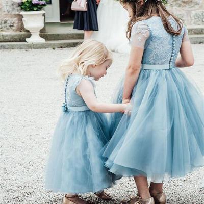 Sky_Blue Organza Lace Flower Girl Dresses,Cheap Toddler Flower Girl Dresses,FGY0195