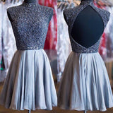 Grey beads sparkly high neck open back vintage elegant homecoming prom dress,BDY0138