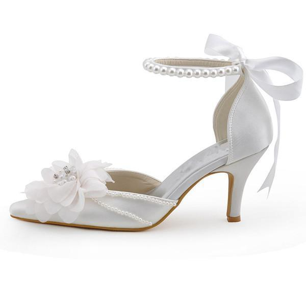 Pearls Women Wedding Shoes With Ribbons Lace Up Party Shoes Pointed Toes, SY0125