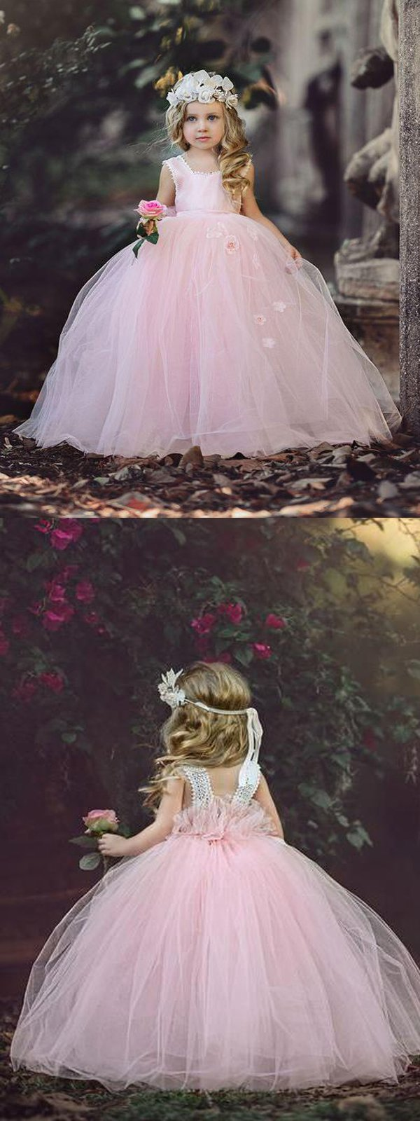 Pink Halter Tulle Flower Girl Dresses With Handmade Flowercheap