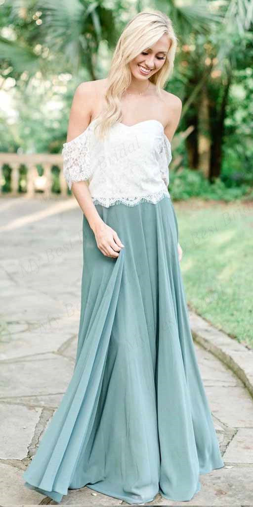A-line Off-the-Shoulder Green Chiffon Bridesmaid Dresses,Cheap Bridesmaid Dresses,WGY0385