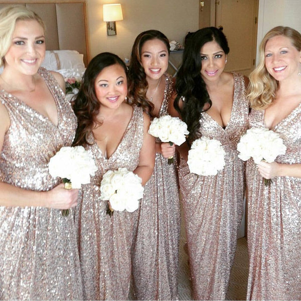 58f24a1f57a6 Shinning Sequined V-Neck Long Bridesmaid Dresses,Cheap Bridesmaid Dresses ,WGY0355
