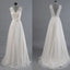 Best Sale Vantage V-Back Lace Top Simple Design Wedding Party Dresses, WDY0107
