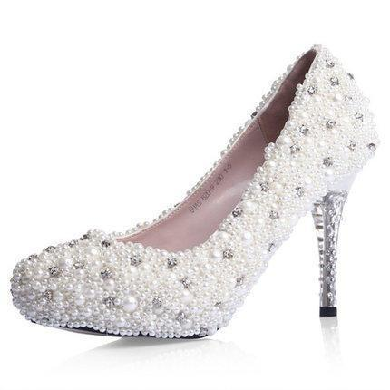 Popular Handmade Pearls Rhinestone Pointed Toe Crystal Wedding Shoes, SY0128