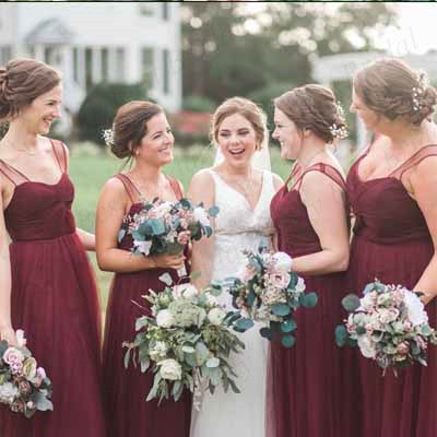A-line Straps Burgundy Tulle Bridesmaid Dresses,Cheap Bridesmaid Dresses,WGY0386