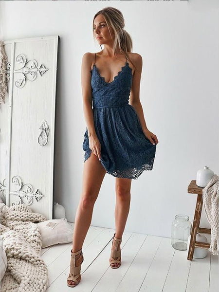 A-Line Spaghetti Straps Navy Blue Lace Homecoming Dresses ,Short Prom Dresses,BDY0320