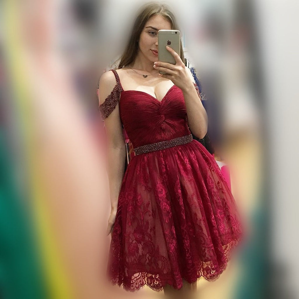 Off Shoulder Cute Short Lace Dark Red Homecoming Dresses 2018, BDY0251