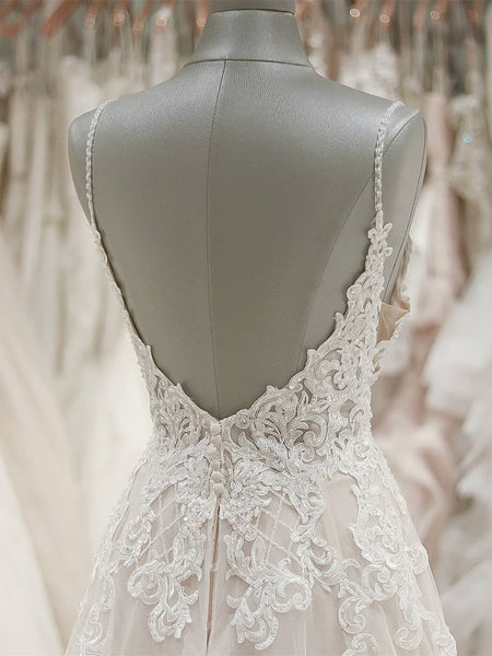 Sweetheart Spaghetti Straps Floor-length A-line Lace Cheap Wedding Dresses, WDY0138