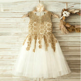 Gold Lace Sleeveless Tulle Flower Girl Dresses, Little Girl Dresses, Cheap Flower Girl Dresses, FGY0120