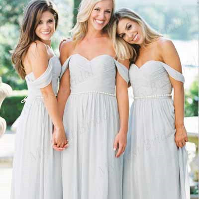93d5b1bbbdb00 Off-The-Shoulder Light Blue Chiffon Bridesmaid Dresses