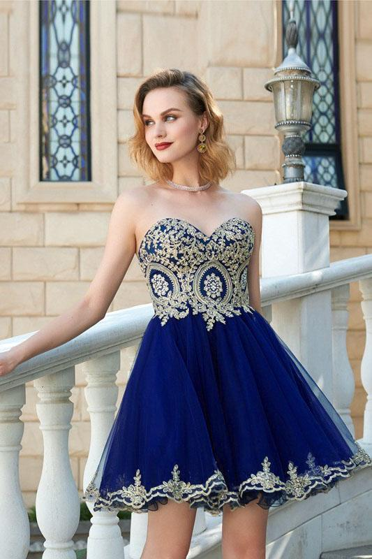 Sweetheart Gold Lace Beaded Blue Short Cheap Homecoming Dresses Online, BDY0346
