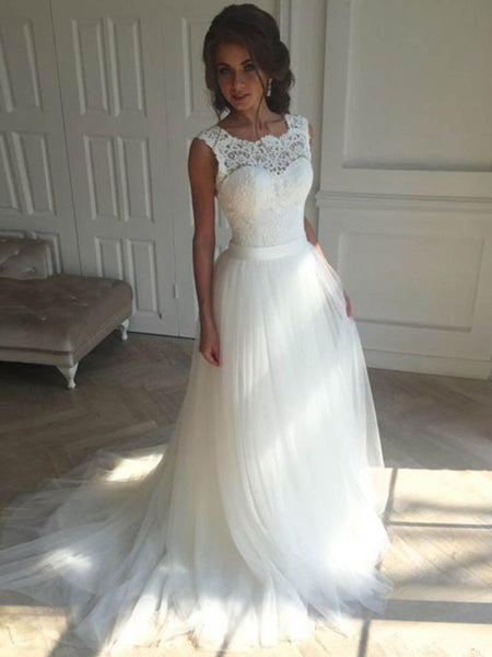Elegant Long A-line Two Pieces Lace Top Sweetheart White Tulle Wedding Dresses, WDY0132