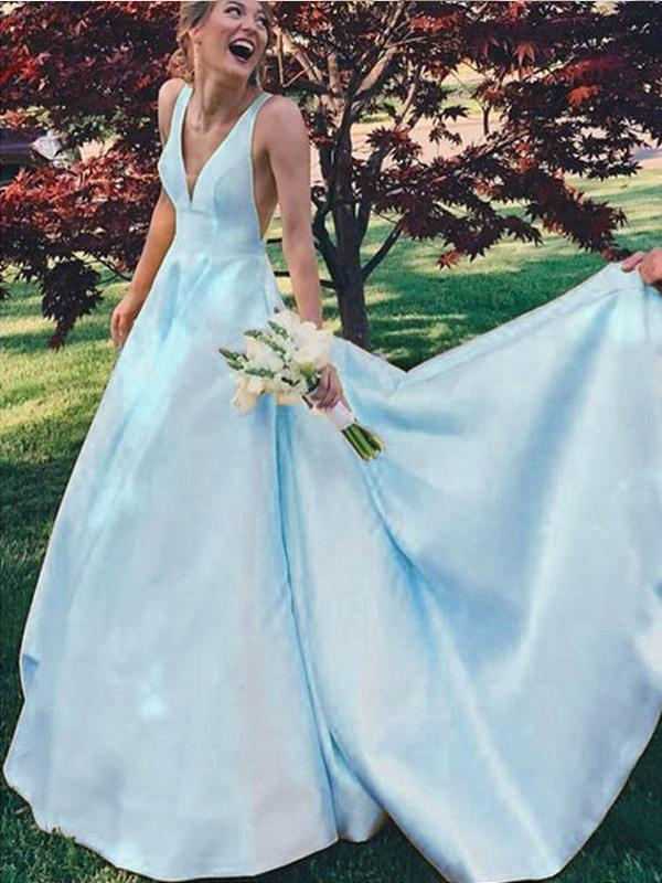 V-Neck Yellow/Blue/Pink Satin Prom Dresses,Cheap Prom Dresses,PDY0523