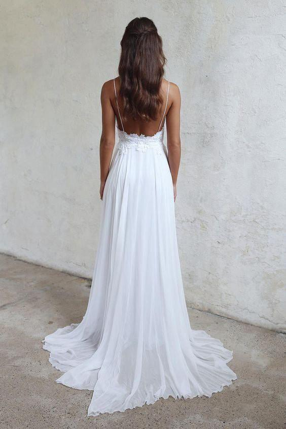 Sexy Backless Unique Casual Cheap Beach Wedding Dresses Wdy0180