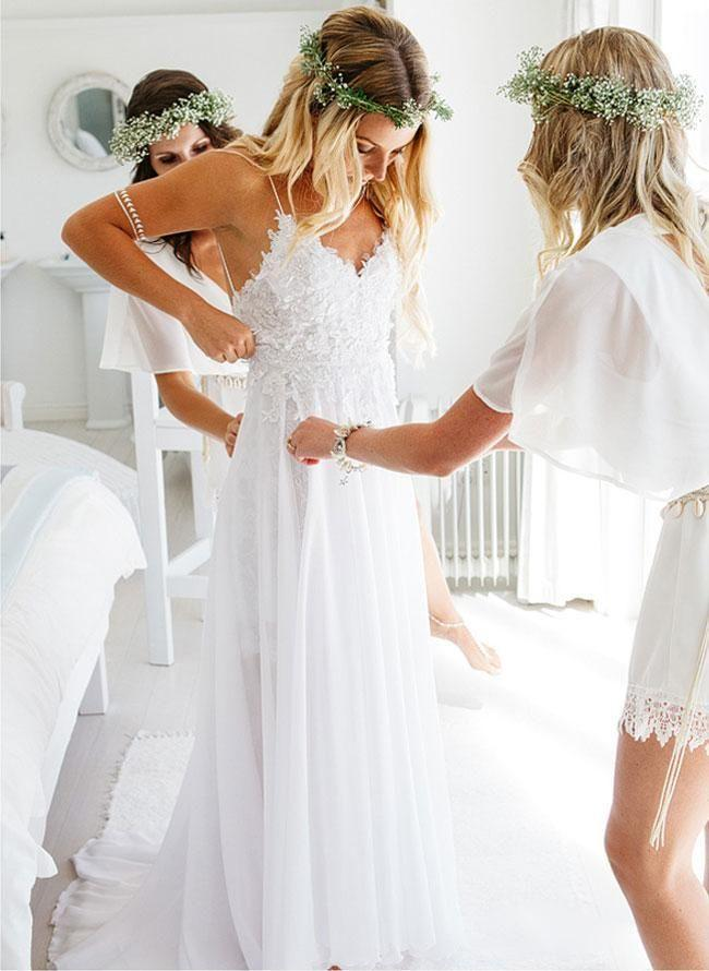 Sexy Backless Unique Casual Cheap Beach Wedding Dresses, WDY0180