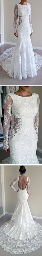 Gorgeous Round Neck Long Sleeve Sexy Mermaid Backless Lace Wedding Party Dresses, WDY0148