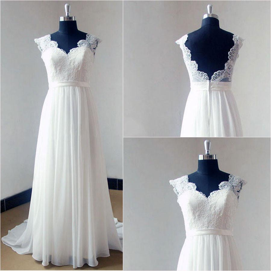 Elegant White Satin Cap Sleeve Rhinestone Wedding Dresses, Sexy V-back Bridal Gown, WDY0137