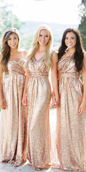 Sheath Rose Gold Sequin Bridesmaid Dresses,Cheap Bridesmaid Dresses,WGY0387