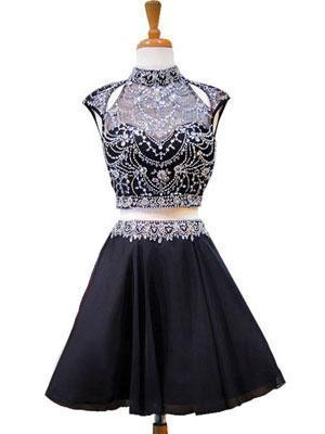 High Neck Beaded Short Two Piece Black Homecoming Dresses 2018, BDY0180