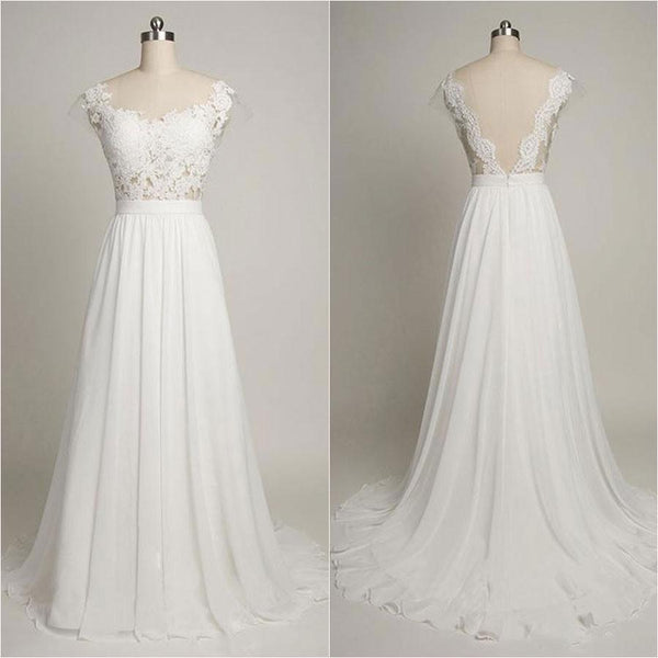 Charming Sweetheart Lace Beaded Sexy Mermaid White Chiffon Wedding Dresses, WDY0116