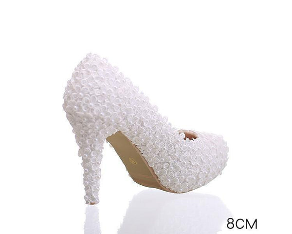 Pearls Lace Pointed Toe White High Heels Wedding Bridal Shoes, SY0124