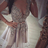 Grey gorgeous v-neck sexy unique formal homecoming prom gown dress,BDY0140