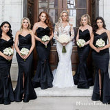 Black Sweetheart Sleeveless Mermaid Front Slit Bridesmaid Dresses, TYP0002