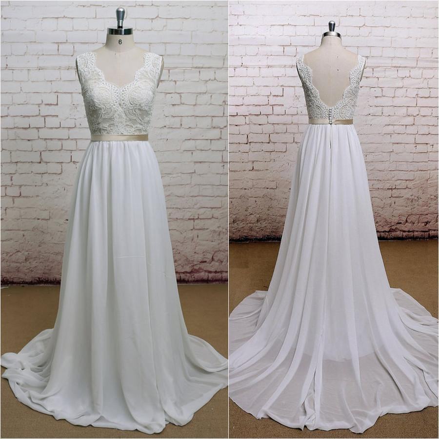 Backless V Neck Cap Sleeve Lace Simple Cheap Beach Wedding Dresses, WDY0192