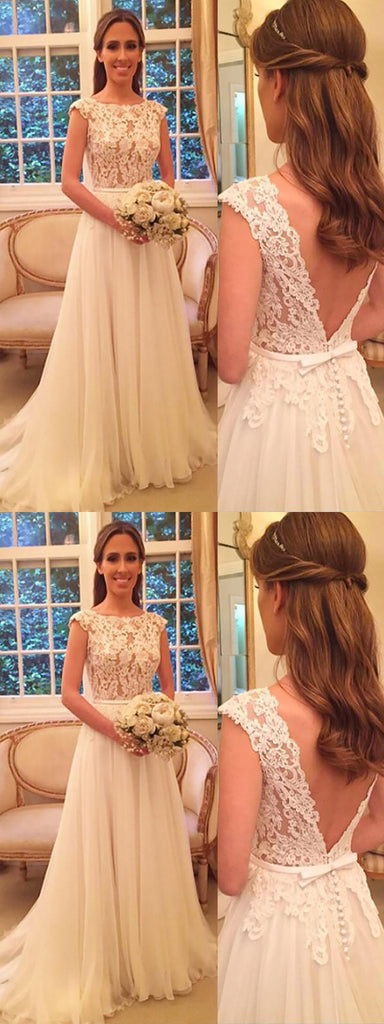 Cap Sleeves V-back White Lace Tulle Long Wedding Dresses, Cheap Wedding Dresses,WDY0130