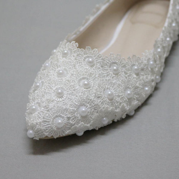 Pregnant Flat Heels Pearls Lace Pointed Toe White Wedding Bridal Shoes, SY0131
