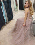A-line Beaded Jewel Neck Dusty Pink Long Prom Dresses,Cheap Prom Dresses,PDY0531