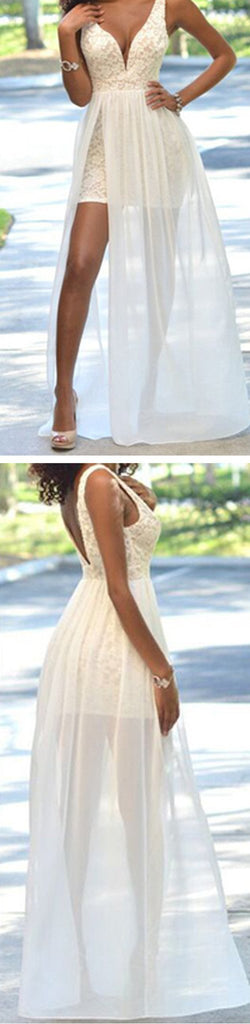 Cheap Popular Simple Ivory Lace Side Slit Chiffon Wedding Party Dresses, WDY0120
