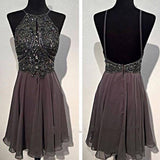 Dark grey sparkly special vintage open back sexy popular homecoming prom dress,BDY0130